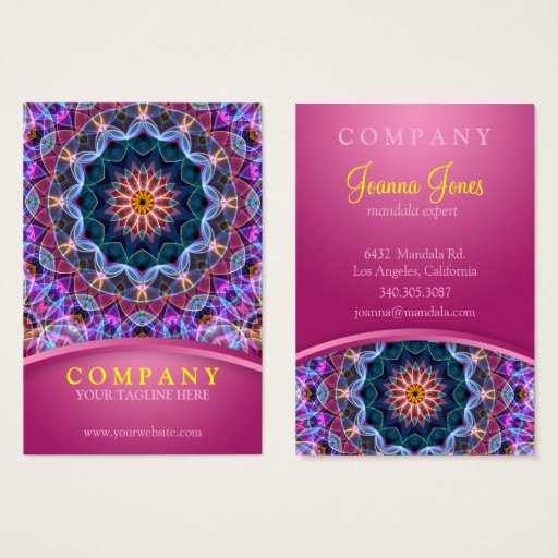 Purple Lotus Mandala with pink chubby Business Card