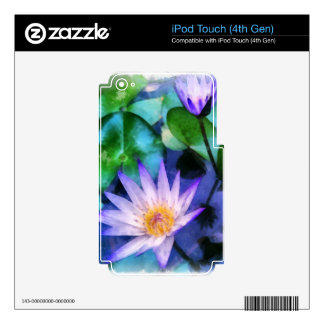 Purple Lotus Watercolor Decal For iPod Touch 4G