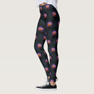 Purple Lotus Waterlily Dragonfly Nymph Leggings