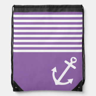 Purple Love Anchor Nautical Drawstring Backpack