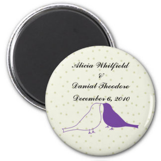 Purple Love Birds Save the Date Magnet