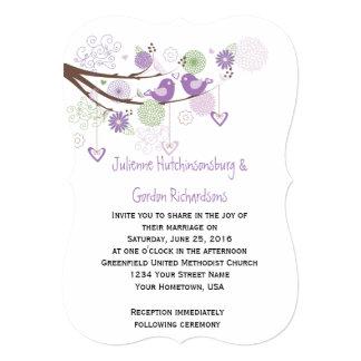 Purple Love Birds Swirls Hand Drawn Floral Wedding 5x7 Paper Invitation Card