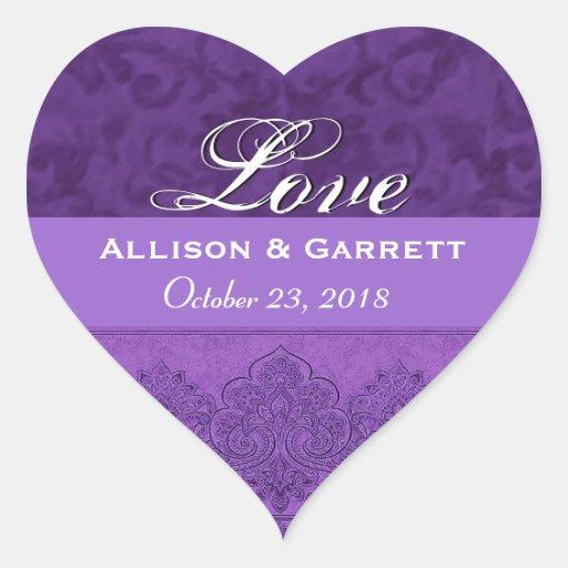 Purple Love Bride and Groom Date F200 Heart Sticker