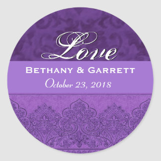 Purple Love Bride and Groom Date F202 Classic Round Sticker