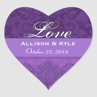 Purple Love Bride and Groom Date Heart Sticker
