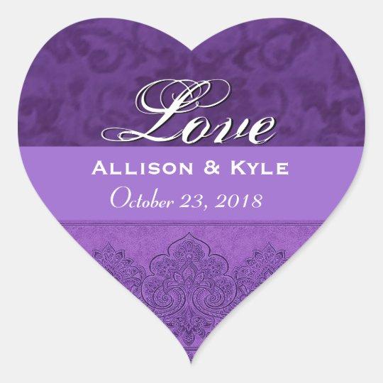 Purple Love Bride and Groom Date Heart Sticker