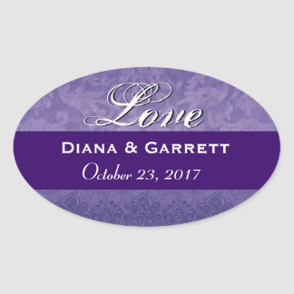 Purple Love Bride and Groom Wedding Date Sticker