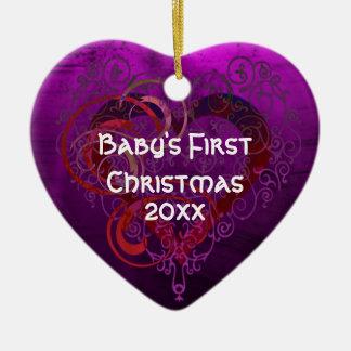 Purple Love Ceramic Ornament