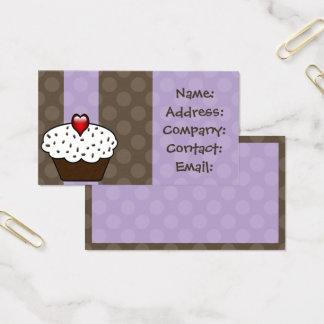 Purple Love cupcakes business Cards