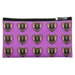 Purple Love Heart Cosmetic Bag