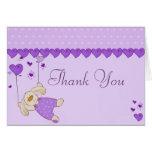 Purple Love Heart Design Thank You Card
