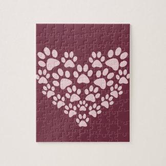 Purple love heart paw print design puzzle