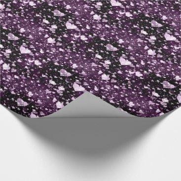 Purple Love Heart Shape Wrapping Paper