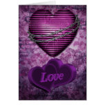 Purple Love Hearts Greeting Card