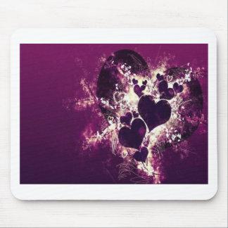 Purple Love Hearts Mouse Pad