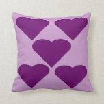 Purple Love Hearts Pillow Cushion