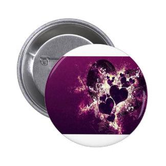 Purple Love Hearts Pinback Button