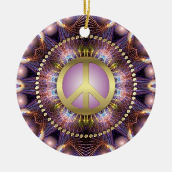 Purple Love Peace Sign NewAge Ceramic Ornament