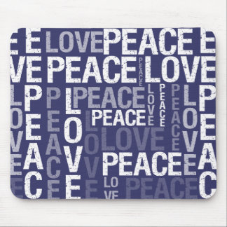 Purple Love Peace Typography Mouse Pad