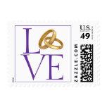 Purple Love Postage Stamp Wedding Platinum Rings