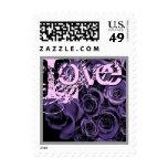PURPLE Love Rose Bouquet Wedding Stamp