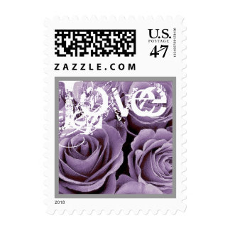 PURPLE Love Rose Wedding Stamp