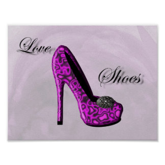 Purple Love Shoes Stiletto Fashion Poster
