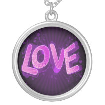 purple love silver plated necklace