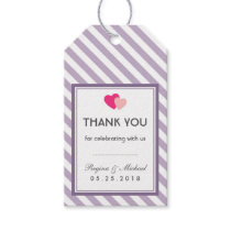 Purple Love Stripes Pattern Party Favor Gift Tag