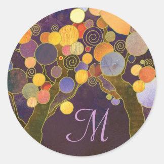Purple Love Trees Monogram Wedding Favor Classic Round Sticker