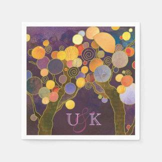 Purple Love Trees Monogram Wedding Paper Napkin