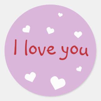 Purple love you Valentine's day custom party favor Classic Round Sticker
