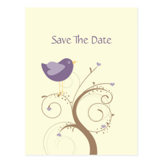Purple Lovebird and Hearts Save The Date Postcard