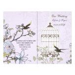 purple lovebirds  bircage bi fold Wedding program Custom Flyer