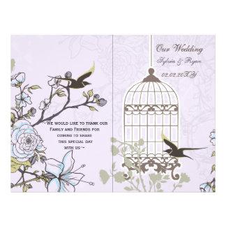 """purple lovebirds  bircage bi fold Wedding program 8.5"""" X 11"""" Flyer"""