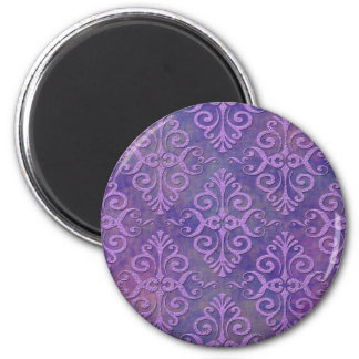 Purple Lovers Two Tone Lavender Purple Damask 2 Inch Round Magnet