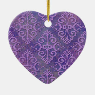 Purple Lovers Two Tone Lavender Purple Damask Christmas Tree Ornaments