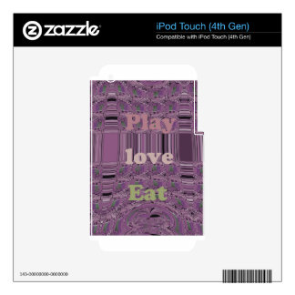 Purple  Loves &  Play Eat Africa South Traditional Skin For iPod Touch 4G