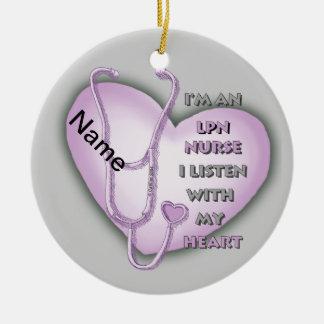 Purple LPN Nurse Heart Ceramic Ornament