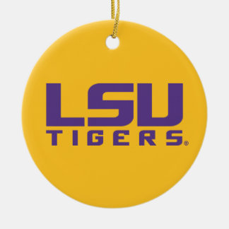 Purple LSU Tigers Logo Ceramic Ornament