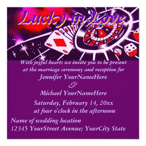 Purple Lucky in Love Wedding Invitation