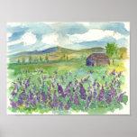 Purple Lupine Field of Flowers Watercolor Meadow Poster