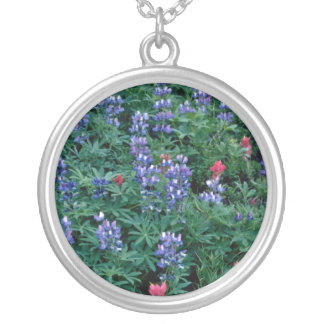 Purple Lupine, Indian Paintbrush flowers Necklace