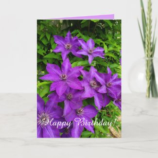 Purple Lupines Floral Happy Birthday Card