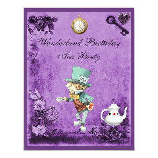 Purple Mad Hatter Wonderland Birthday Tea Party Card