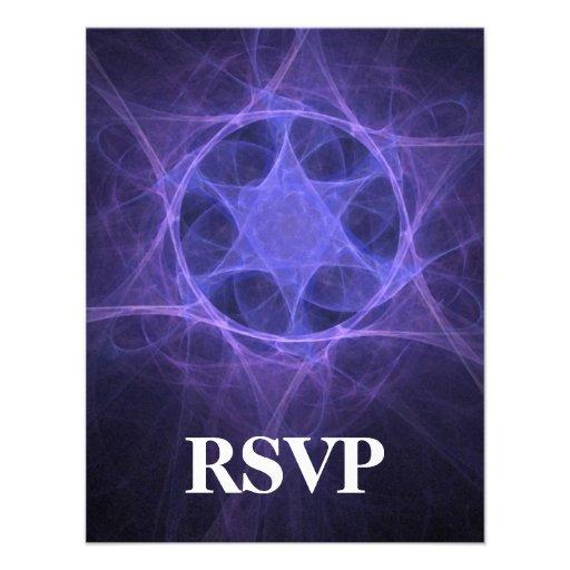 Purple Magen David RSVP Personalized Announcement