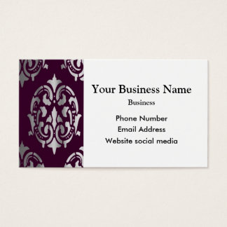 Purple magenta and silver damask business card