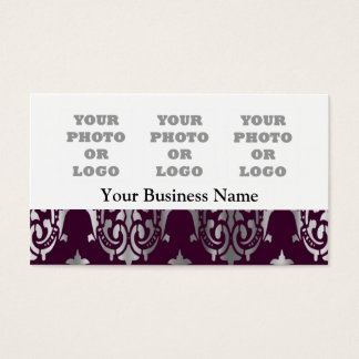 Purple magenta and silver damask photo logo business card