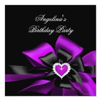 Purple Magenta Heart Black Bow Birthday Party Card