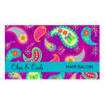 Purple Magenta Turquoise Blue Modern Paisley Business Card Templates